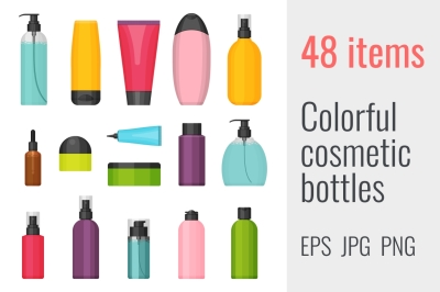 48 colorful cosmetic bottles