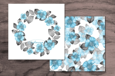Blue floral set 1. Watercolor