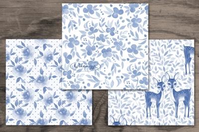 Blue patterns. Watercolor set