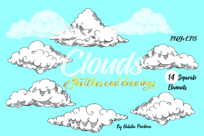 Clouds Digital Clip Art, sky, air, retro, vintage, hand drawn, sketch