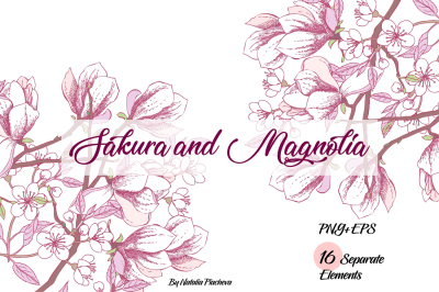 Sakura and Magnolia clip art, wedding, flower, floral, sakura, apple t