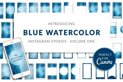 Blue Watercolor Canva Insta Stories
