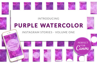 Purple Watercolor Canva Insta Stories