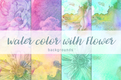 Water color with flower background Vol.6