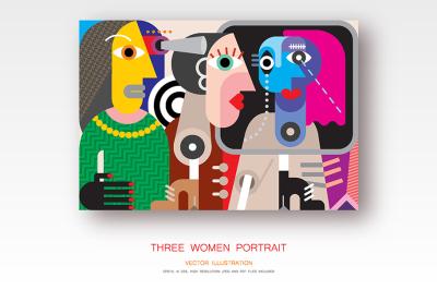 Three women portrait vector artwork