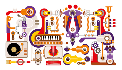 Manufacture of musical instruments vector artwork