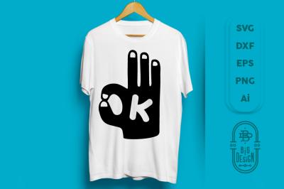 SVG Cut File: OK, HAND Silhouette Vector