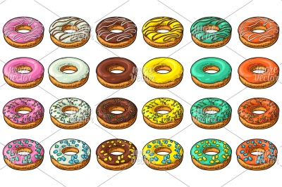 Set donut with different icing, glaze, stripes, sprinkles. engraving