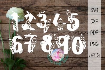 Space numbers cutting files SVG/DXF/PNG