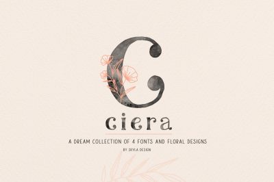 Ciera watercolor svg font family & floral logos & illustrations