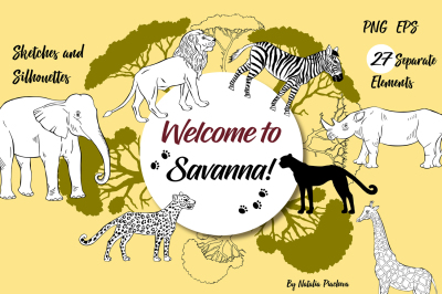 Savanna Animals digital clip art, zebra, lion, cheetah, elephant, gira