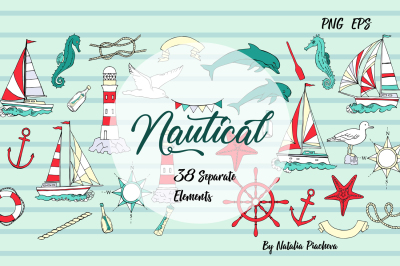Nautical Elements with Ships Clip art, Summer holidays, see, wave, oce