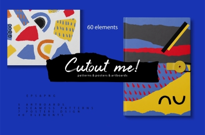 Cutout me! Abstract geometric patterns and objects set.