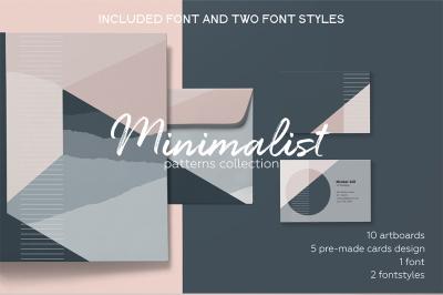 Minimalist elegant pattern set. Included 2 FONT styles.