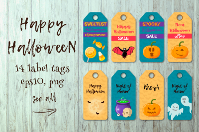HALLOWEEN label tags.