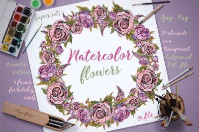 Watercolor flowers. Set of vintage flowers, painting.