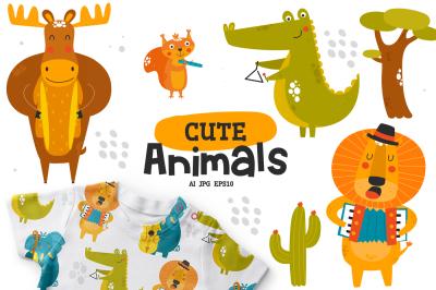 Cute animals character, Music band