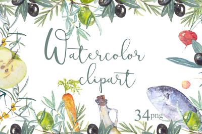 Fruit vegetables food watercolors