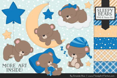 Beary Cute Sleepy Bears Clipart & Papers Set in Blue