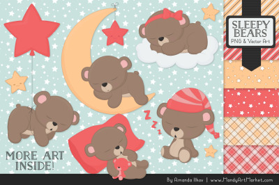 Beary Cute Sleepy Bears Clipart & Papers Set in Coral