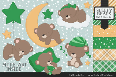 Beary Cute Sleepy Bears Clipart & Papers Set in Green