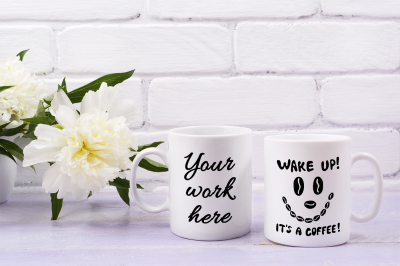 Two coffee mug mockup with ivory peony flower