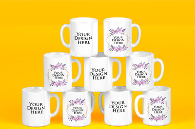 Mockup - Stacked Mugs White - Edit Background - Select Colors