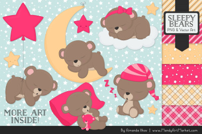 Beary Cute Sleepy Bears Clipart & Papers Set in Hot Pink