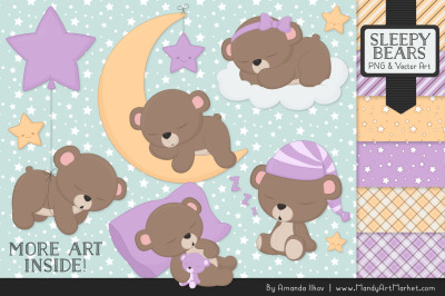Beary Cute Sleepy Bears Clipart & Papers Set in Lavender