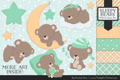 Beary Cute Sleepy Bears Clipart & Papers Set in Mint