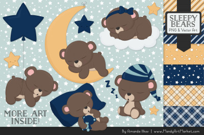 Beary Cute Sleepy Bears Clipart & Papers Set in Navy