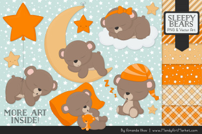 Beary Cute Sleepy Bears Clipart & Papers Set in Orange