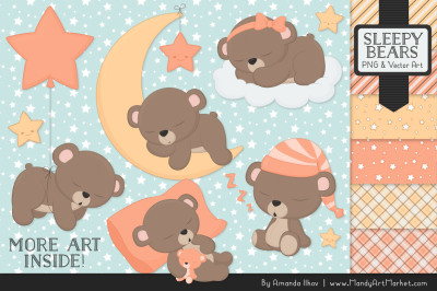 Beary Cute Sleepy Bears Clipart & Papers Set in Peach