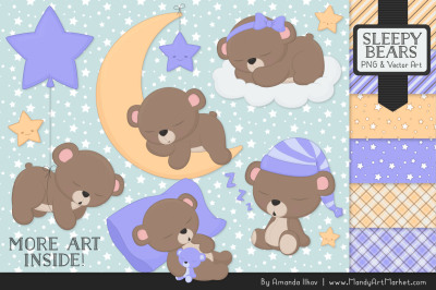 Beary Cute Sleepy Bears Clipart & Papers Set in Periwinkle