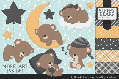 Beary Cute Sleepy Bears Clipart & Papers Set in Pewter