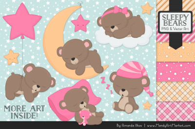 Beary Cute Sleepy Bears Clipart & Papers Set in Pink