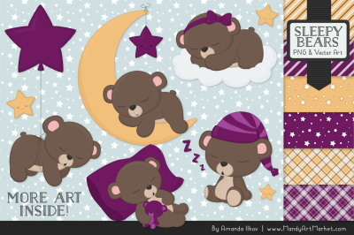 Beary Cute Sleepy Bears Clipart & Papers Set in Plum