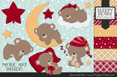 Beary Cute Sleepy Bears Clipart & Papers Set in Ruby