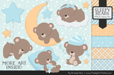 Beary Cute Sleepy Bears Clipart & Papers Set in Soft Blue