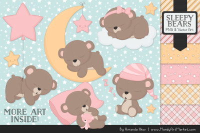 Beary Cute Sleepy Bears Clipart & Papers Set in Soft Pink