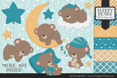 Beary Cute Sleepy Bears Clipart & Papers Set in Vintage Blue