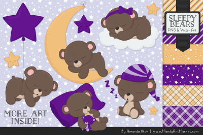 Beary Cute Sleepy Bears Clipart & Papers Set in Violet