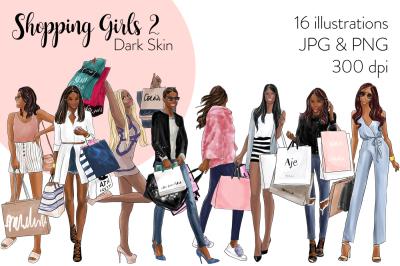 Watercolor Fashion Clipart - Shopping Girls 2 - Dark Skin