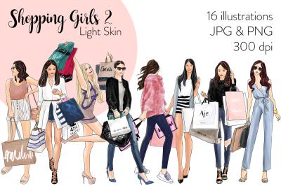 Watercolor Fashion Clipart - Shopping Girls 2 - Light Skin