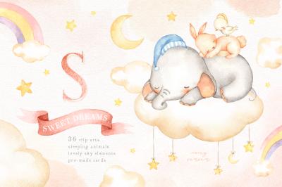 Sweet Dreams Watercolor Clip Art