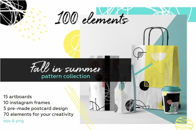 Fall in summer! Hand drawn objects and patterns.