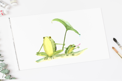 Watercolor Mother & Baby - Frogs - Clip Art & Print