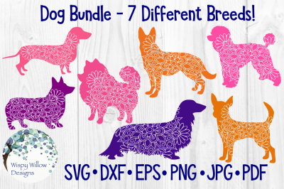 Dog Mandala Bundle SVG/DXF/EPS/PNG/JPG/PDF