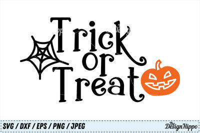 Trick or Treat SVG, Halloween, Pumpkin, Jack O Lantern SVG, PNG, DXF
