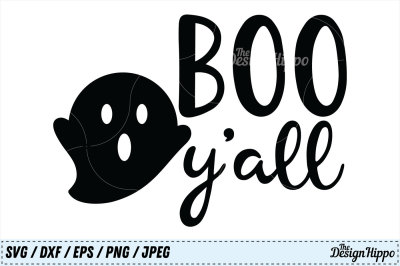 Boo Y'all SVG, Boo Yall SVG, Boo SVG, Halloween Kids SVG PNG Cut Files